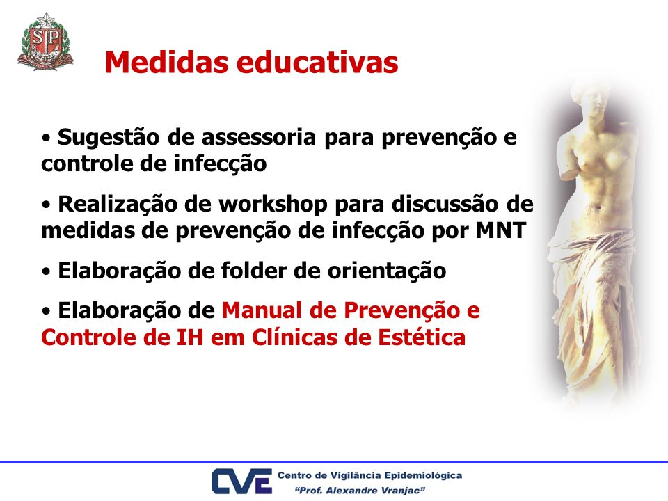 Medidas educativas Sugestão de assessoria para prevenção e controle de infecção.