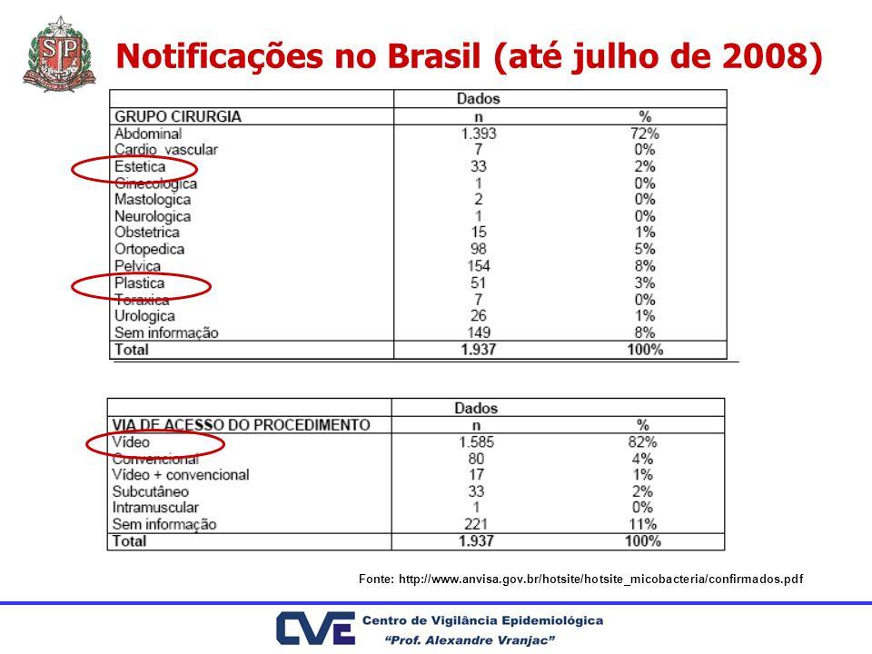 Notificações no Brasil (até julho de 2008)