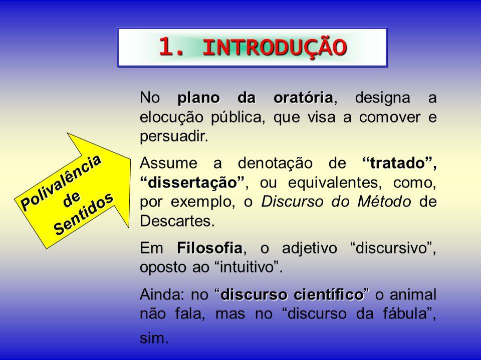 1. INTRODUÇÃO No plano da oratória, designa a elocução pública, que visa a comover e persuadir.