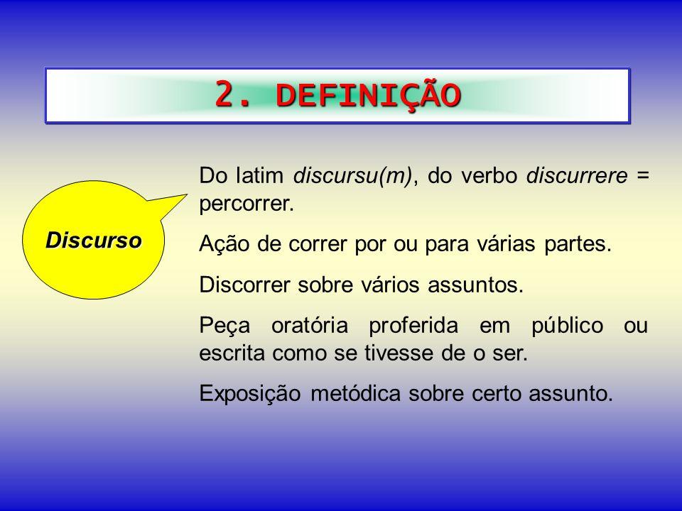 2. DEFINIÇÃO Do latim discursu(m), do verbo discurrere = percorrer.