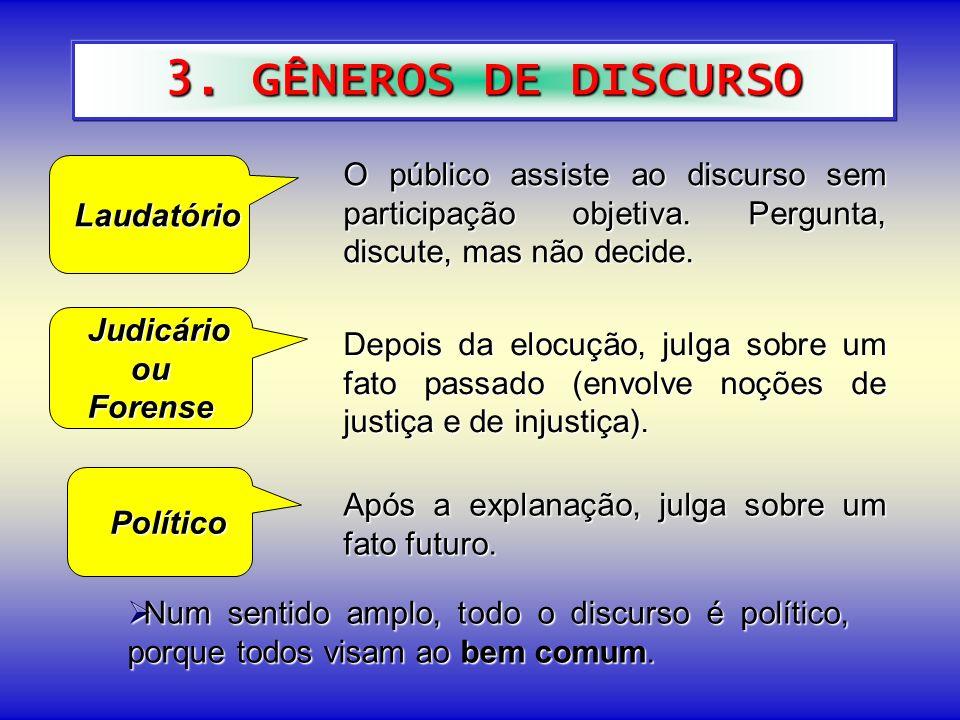 3. GÊNEROS DE DISCURSO Laudatório. O público assiste ao discurso sem participação objetiva. Pergunta, discute, mas não decide.