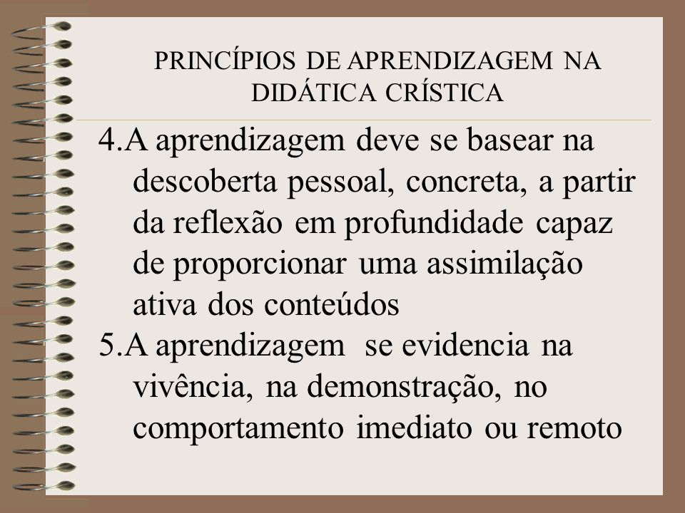 PRINCÍPIOS DE APRENDIZAGEM NA DIDÁTICA CRÍSTICA