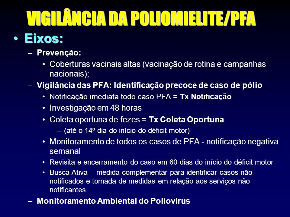 VIGILÂNCIA DA POLIOMIELITE/PFA
