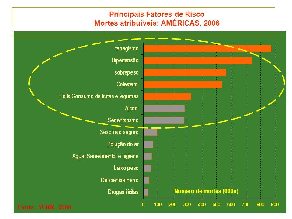 Principais Fatores de Risco Mortes atribuíveis: AMÉRICAS, 2006