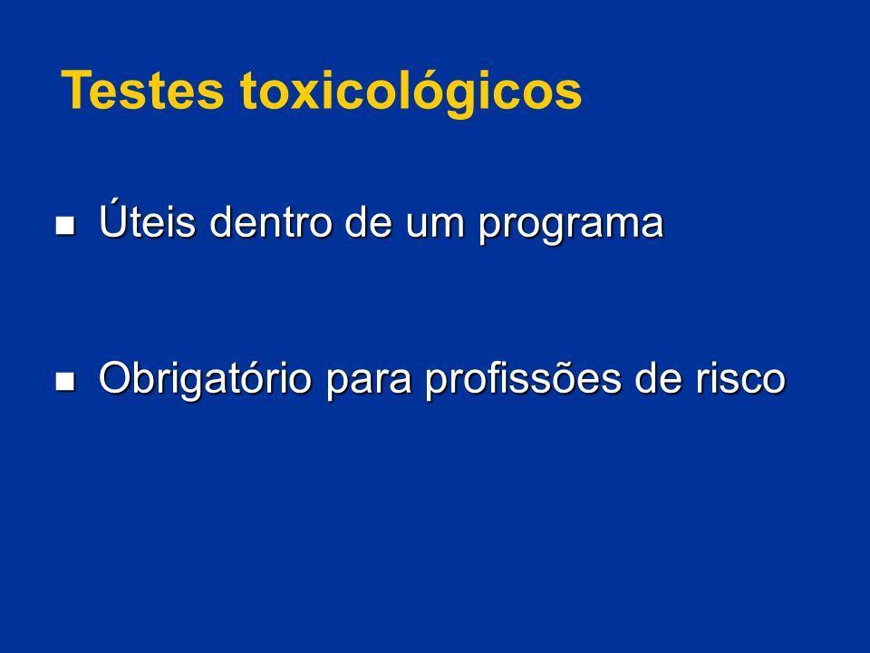Testes toxicológicos Úteis dentro de um programa