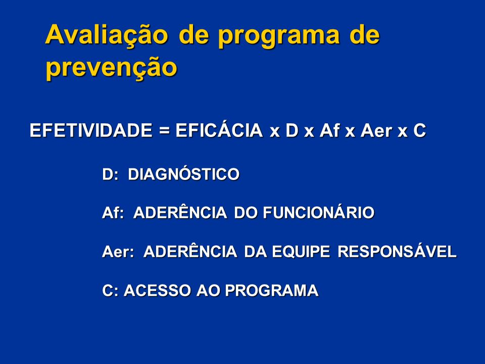 Avaliação de programa de prevenção