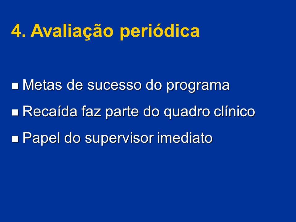 4. Avaliação periódica Metas de sucesso do programa