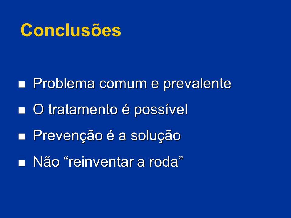 Conclusões Problema comum e prevalente O tratamento é possível