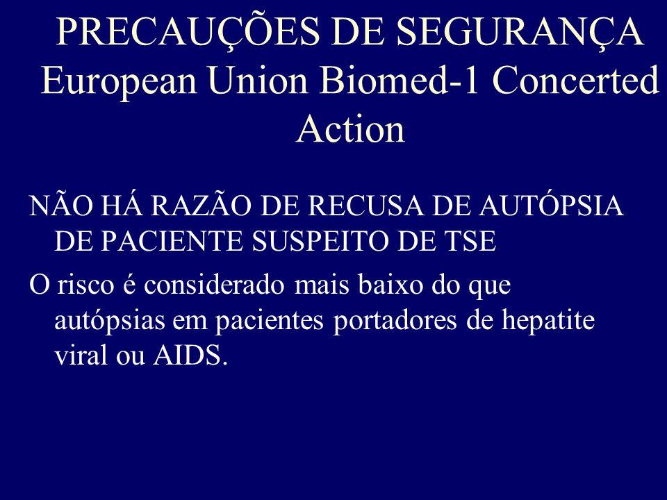 PRECAUÇÕES DE SEGURANÇA European Union Biomed-1 Concerted Action