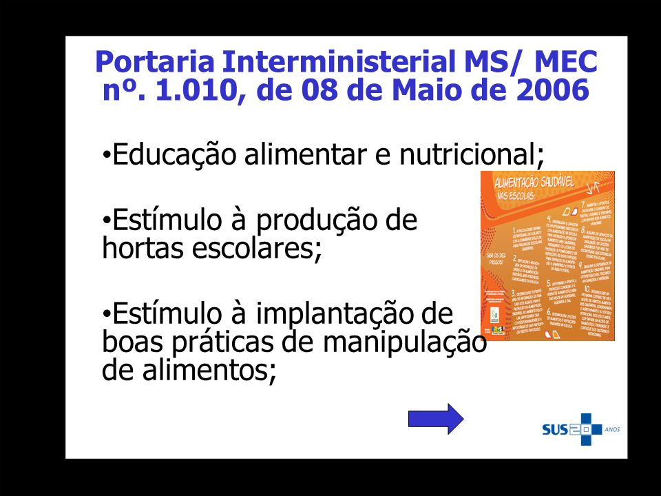 Portaria Interministerial MS/ MEC nº. 1.010, de 08 de Maio de 2006