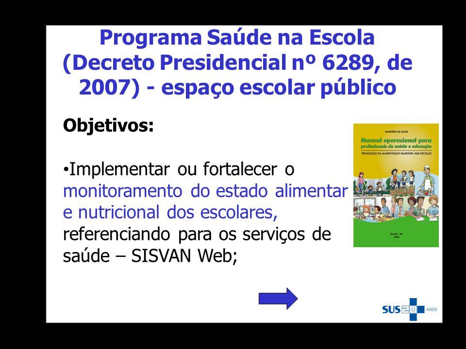 Programa Saúde na Escola (Decreto Presidencial nº 6289, de 2007) - espaço escolar público