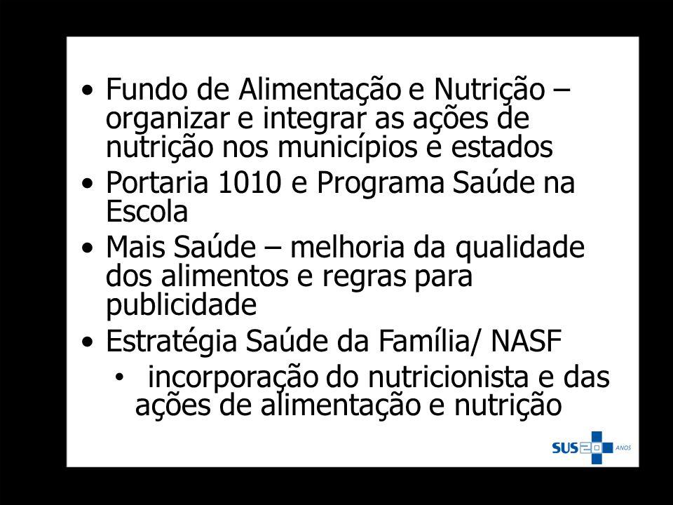 Fundo de Alimentação e Nutrição – organizar e integrar as ações de nutrição nos municípios e estados