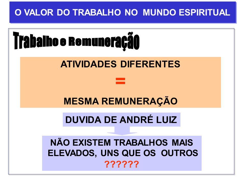 = Trabalho e Remuneração ATIVIDADES DIFERENTES MESMA REMUNERAÇÃO