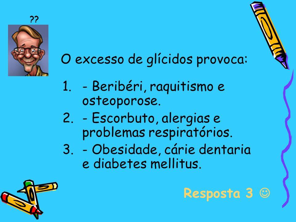 O excesso de glícidos provoca: