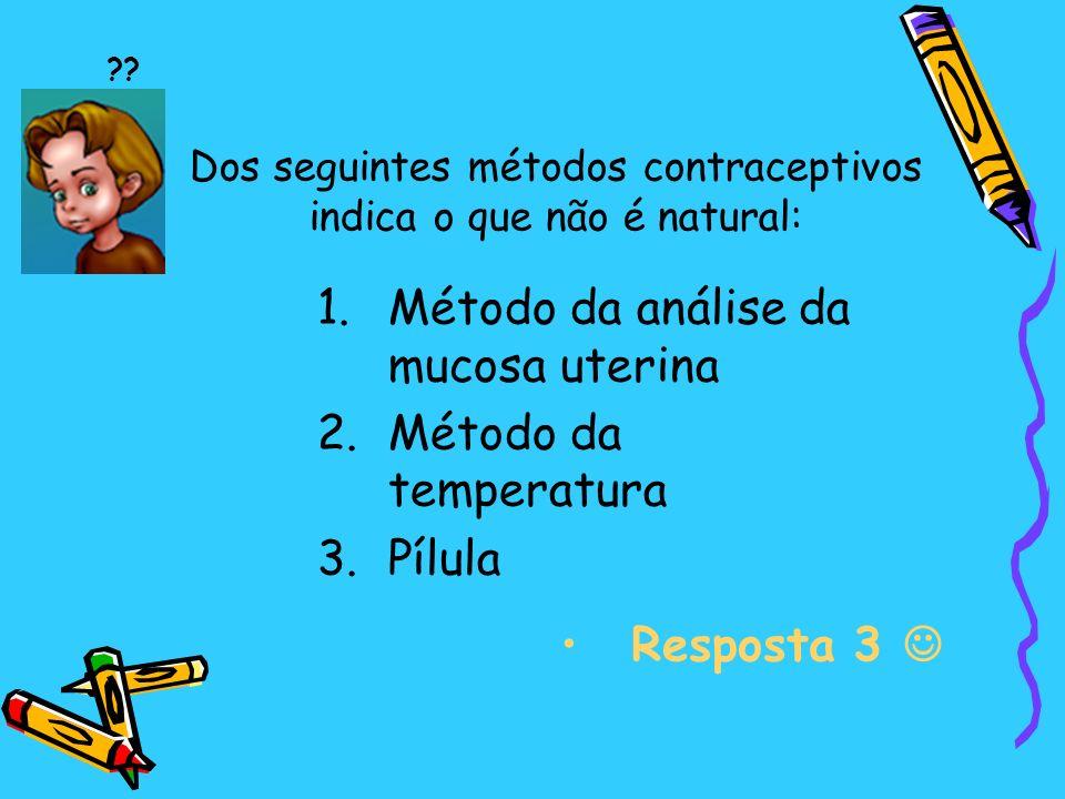 Dos seguintes métodos contraceptivos indica o que não é natural: