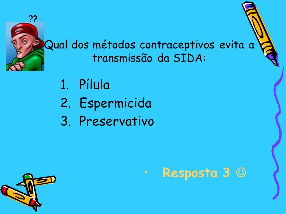 Qual dos métodos contraceptivos evita a transmissão da SIDA:
