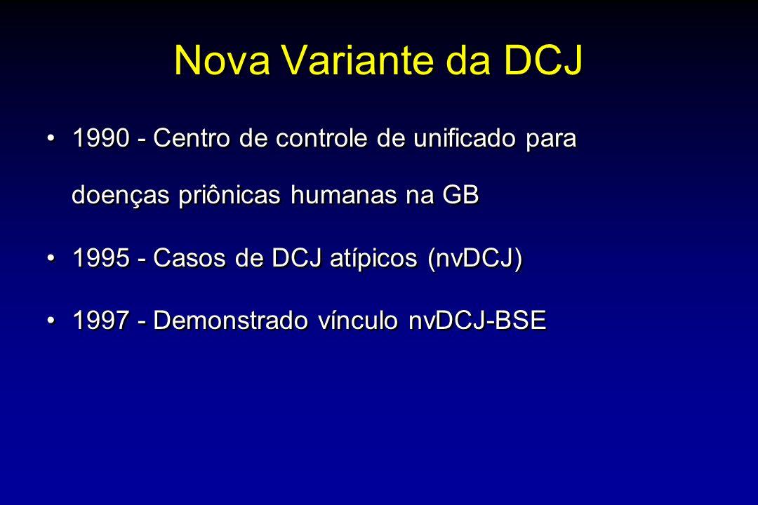 Nova Variante da DCJ 1990 - Centro de controle de unificado para doenças priônicas humanas na GB. 1995 - Casos de DCJ atípicos (nvDCJ)