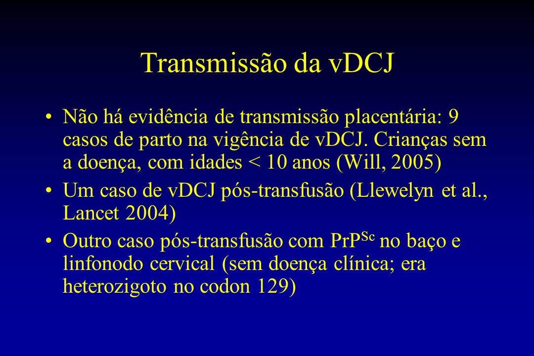 Transmissão da vDCJ