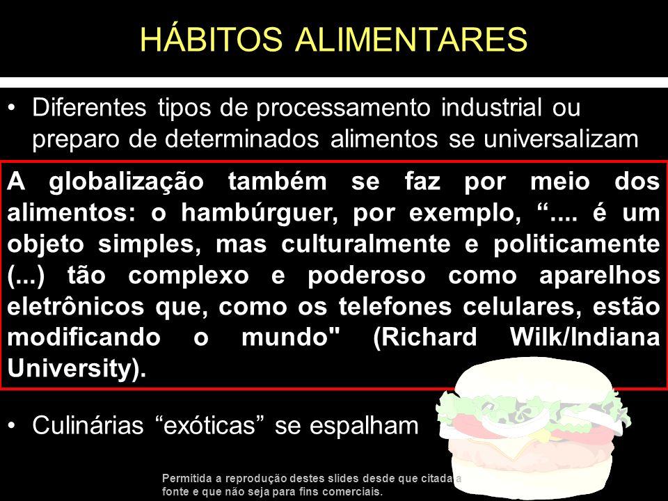 HÁBITOS ALIMENTARESDiferentes tipos de processamento industrial ou preparo de determinados alimentos se universalizam.