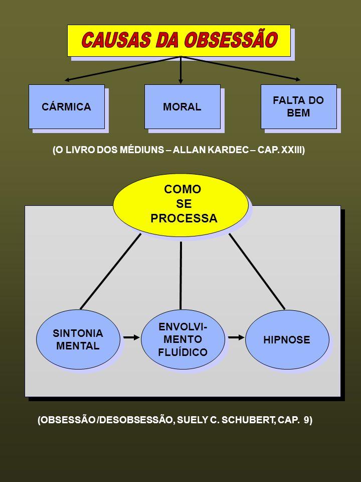 CAUSAS DA OBSESSÃO COMO SE PROCESSA CÁRMICA MORAL FALTA DO BEM