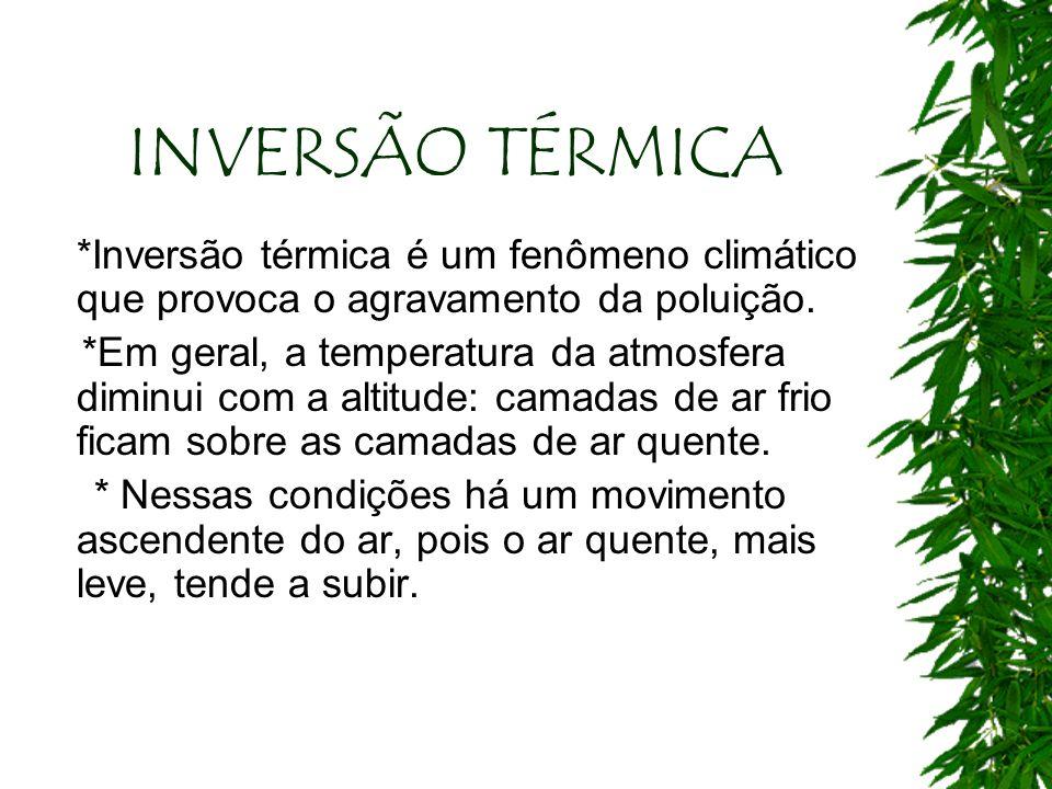 INVERSÃO TÉRMICA *Inversão térmica é um fenômeno climático que provoca o agravamento da poluição.
