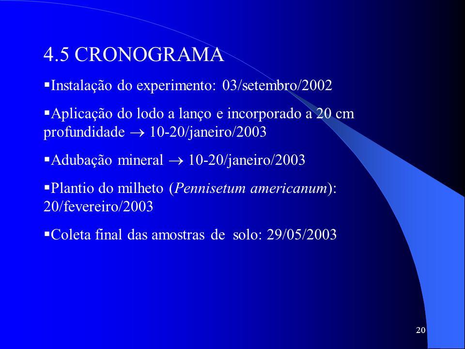 4.5 CRONOGRAMA Instalação do experimento: 03/setembro/2002