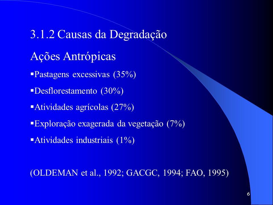 3.1.2 Causas da Degradação Ações Antrópicas Pastagens excessivas (35%)