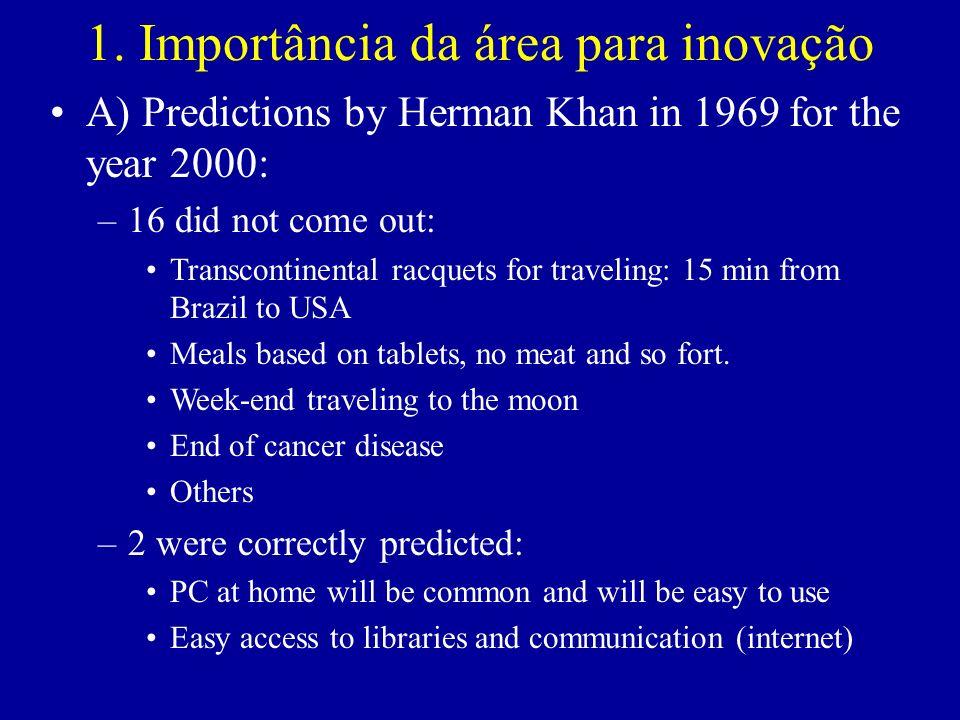 1. Importância da área para inovação