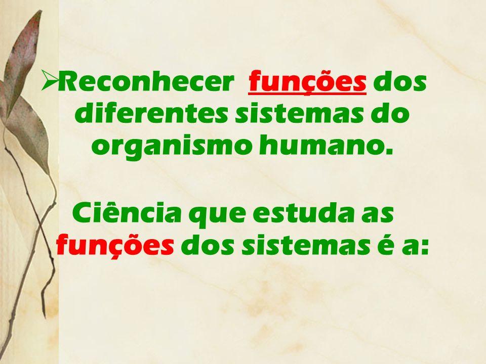 Reconhecer funções dos diferentes sistemas do organismo humano.