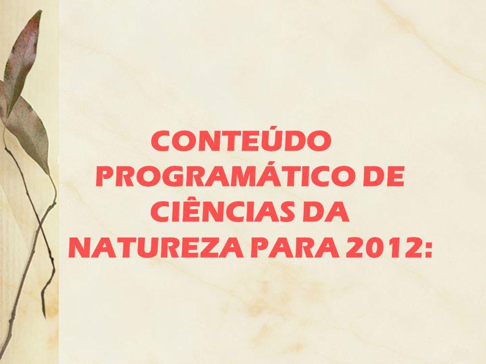 CONTEÚDO PROGRAMÁTICO DE CIÊNCIAS DA NATUREZA PARA 2012: