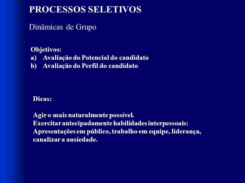 PROCESSOS SELETIVOS Dinâmicas de Grupo Objetivos: