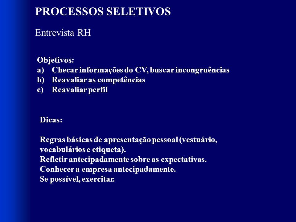 PROCESSOS SELETIVOS Entrevista RH Objetivos: