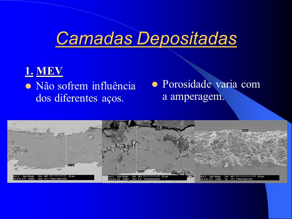 Camadas Depositadas 1. MEV Não sofrem influência dos diferentes aços.