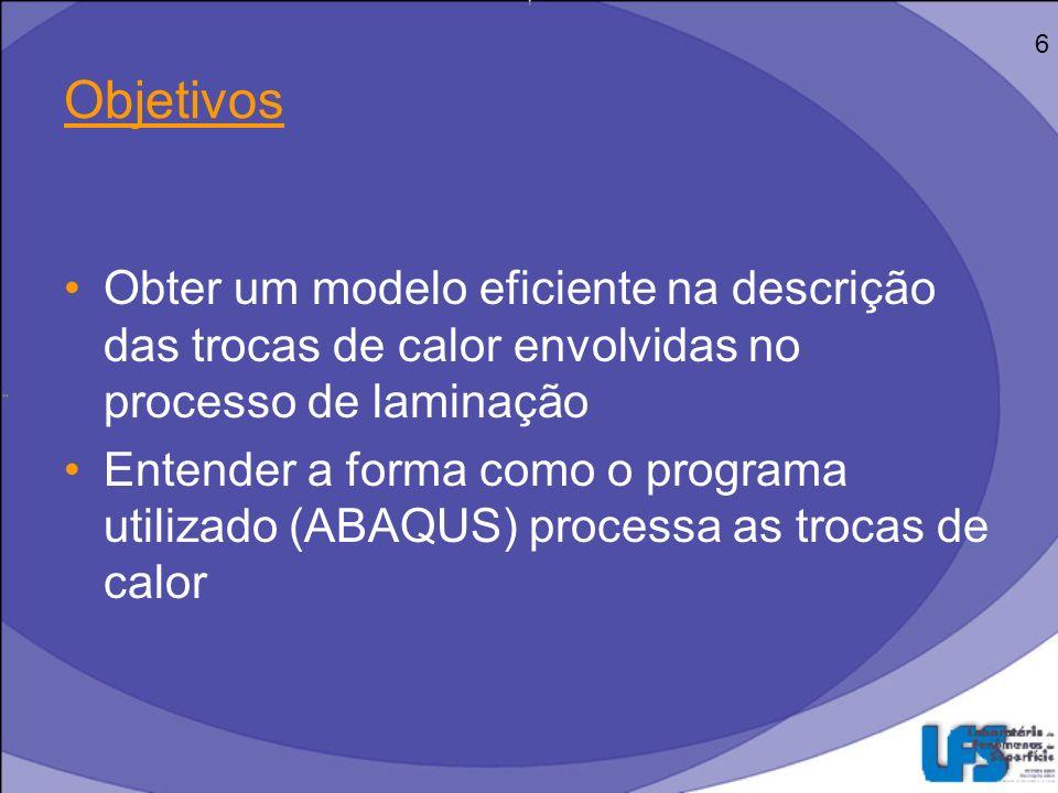 6 Objetivos. Obter um modelo eficiente na descrição das trocas de calor envolvidas no processo de laminação.