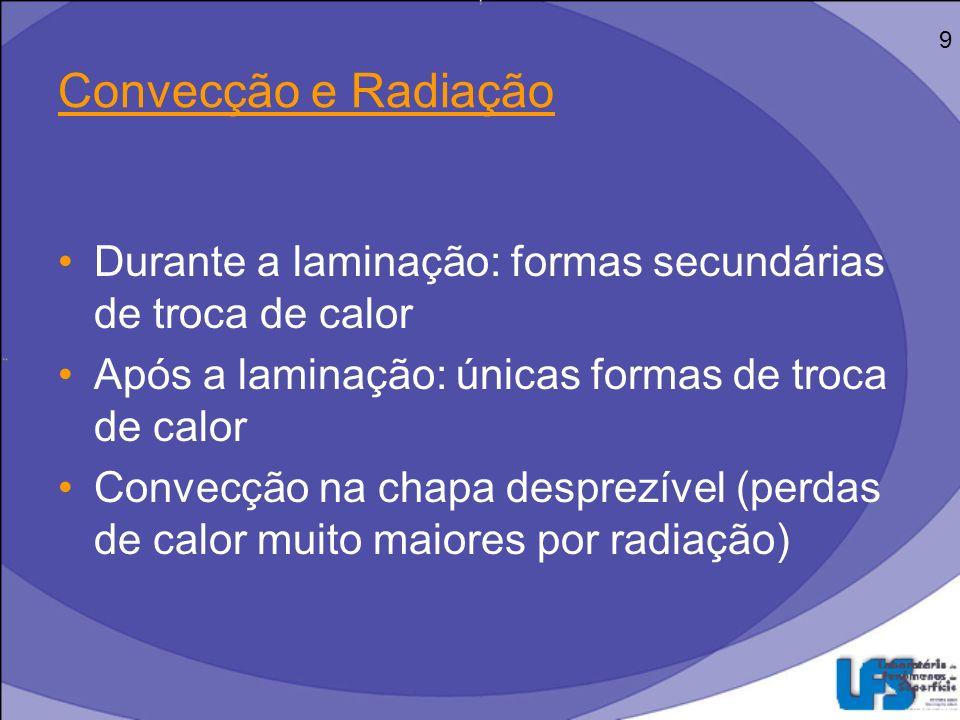 9 Convecção e Radiação. Durante a laminação: formas secundárias de troca de calor. Após a laminação: únicas formas de troca de calor.