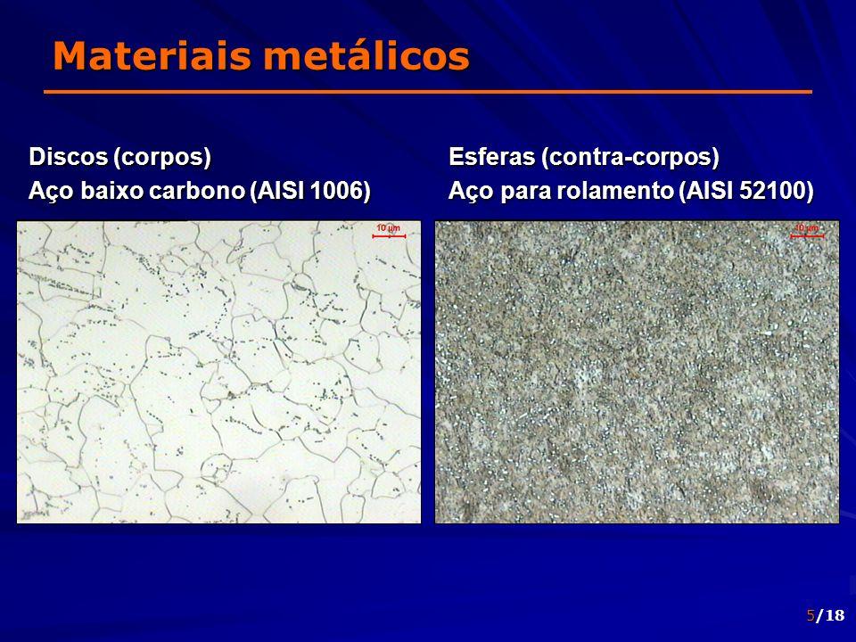 Materiais metálicos Discos (corpos) Aço baixo carbono (AISI 1006)