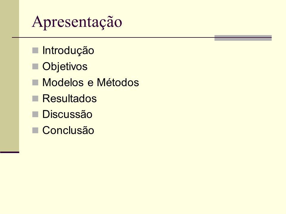 Apresentação Introdução Objetivos Modelos e Métodos Resultados