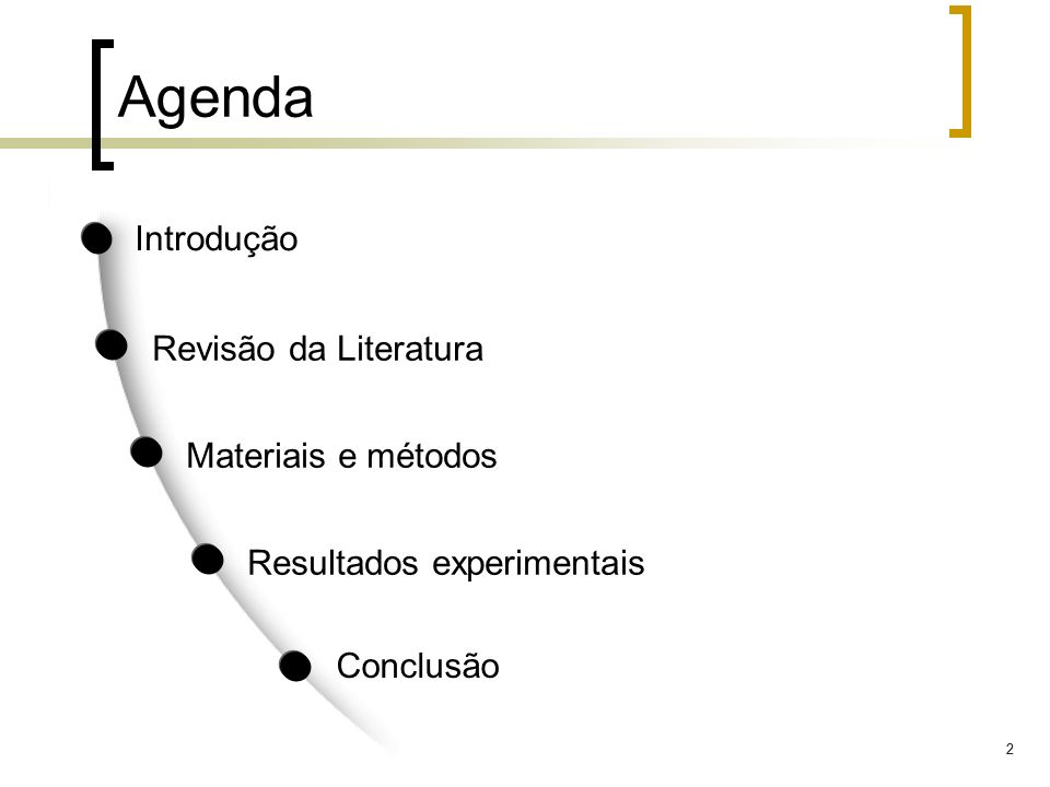 Agenda Introdução Revisão da Literatura Materiais e métodos
