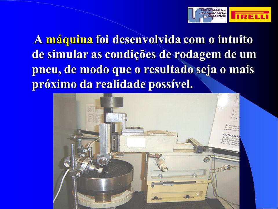 A máquina foi desenvolvida com o intuito de simular as condições de rodagem de um pneu, de modo que o resultado seja o mais próximo da realidade possível.