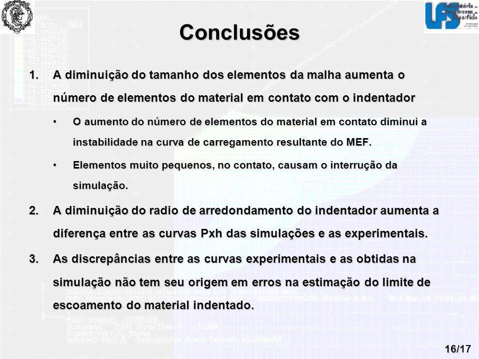 Conclusões A diminuição do tamanho dos elementos da malha aumenta o número de elementos do material em contato com o indentador.