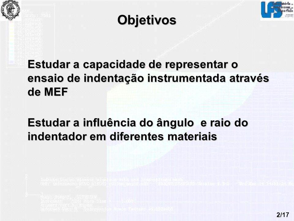 Objetivos Estudar a capacidade de representar o ensaio de indentação instrumentada através de MEF.
