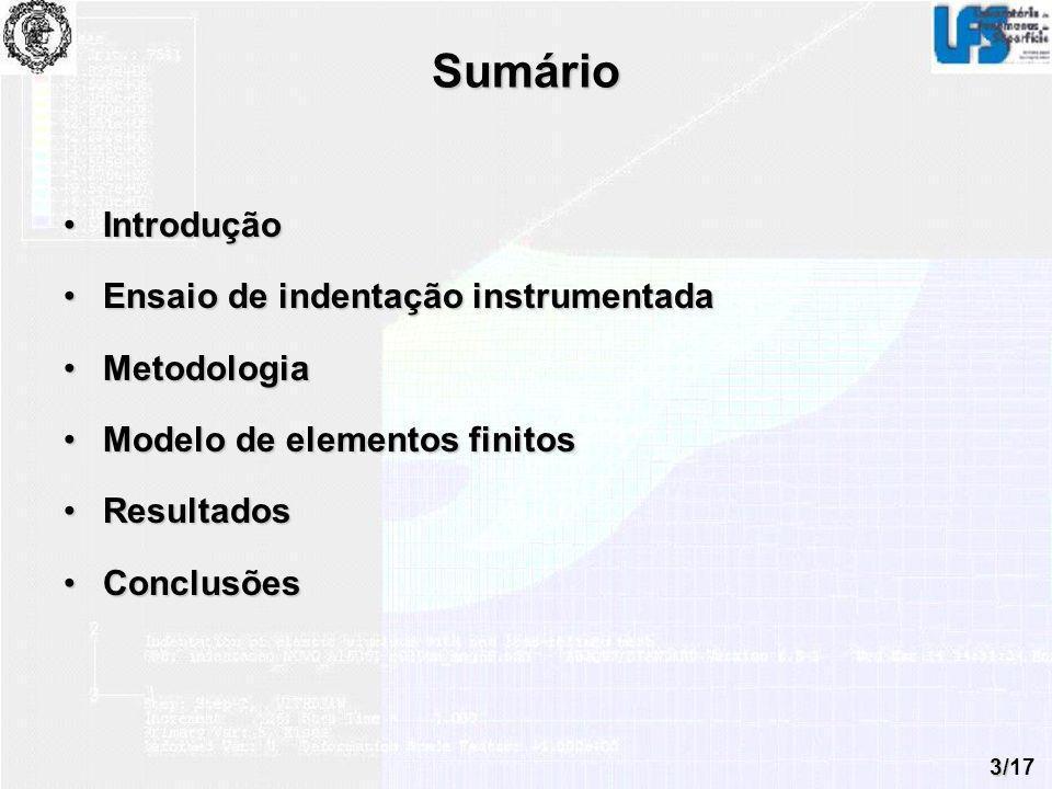 Sumário Introdução Ensaio de indentação instrumentada Metodologia