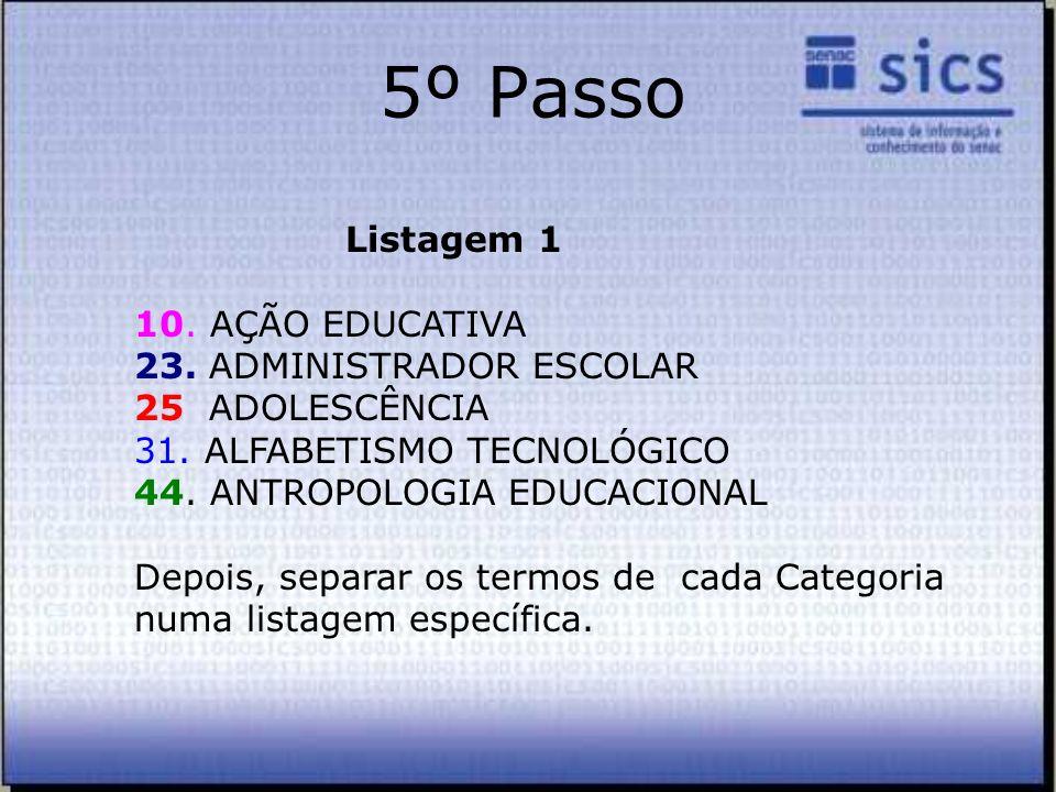 5º Passo Listagem 1 10. AÇÃO EDUCATIVA 23. ADMINISTRADOR ESCOLAR