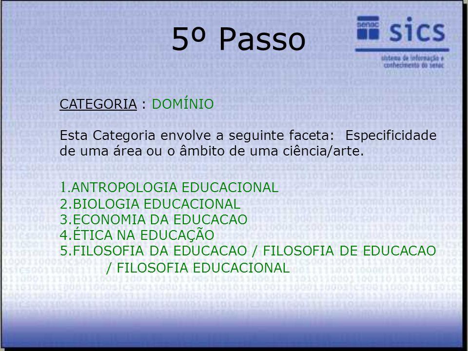 5º Passo 1.ANTROPOLOGIA EDUCACIONAL CATEGORIA : DOMÍNIO