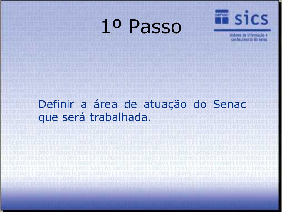 1º Passo Definir a área de atuação do Senac que será trabalhada.
