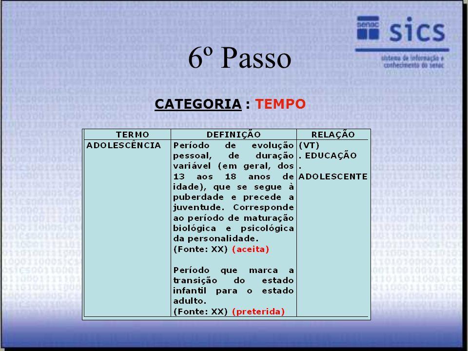 6º Passo CATEGORIA : TEMPO