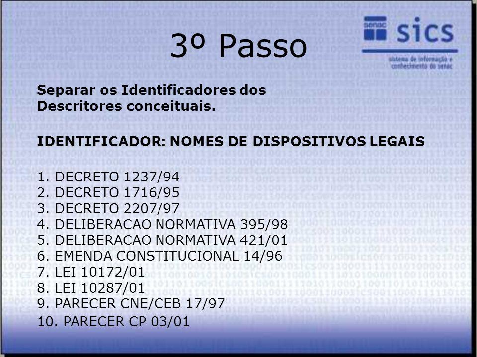 3º Passo Separar os Identificadores dos Descritores conceituais.