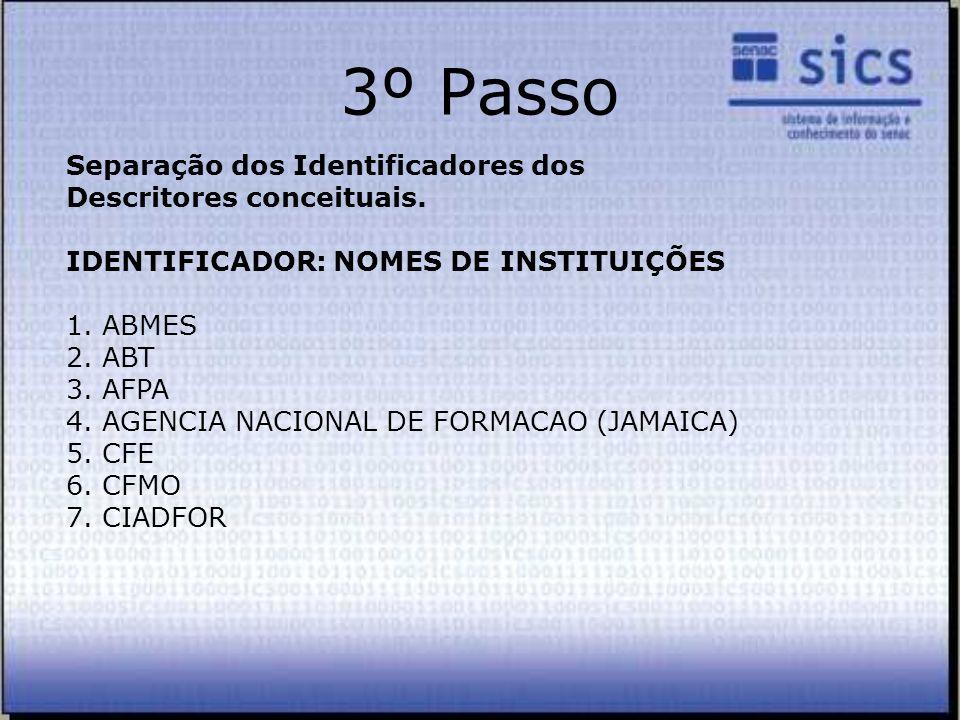 3º Passo Separação dos Identificadores dos Descritores conceituais.