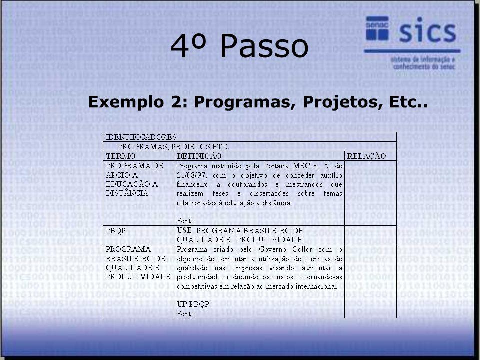 4º Passo Exemplo 2: Programas, Projetos, Etc..