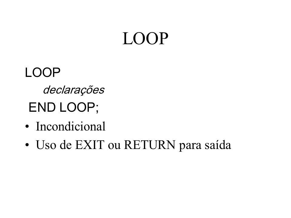 LOOP LOOP END LOOP; Incondicional Uso de EXIT ou RETURN para saída